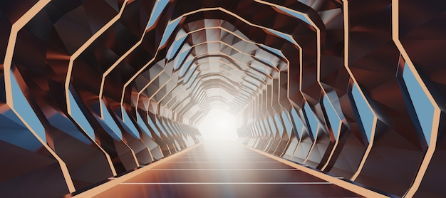 3d rendering illuminated corridor abstract future space tunnel.
