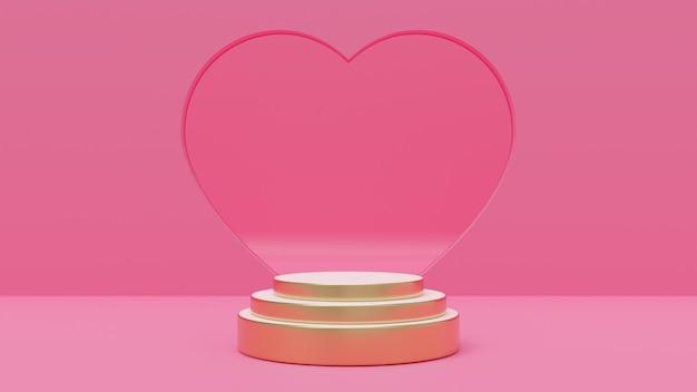 3d-rendering-illustration des premium-podiums, rosa hintergrund, verziert mit herzwand für liebe, hochzeit, valentinstag, jahrestag.