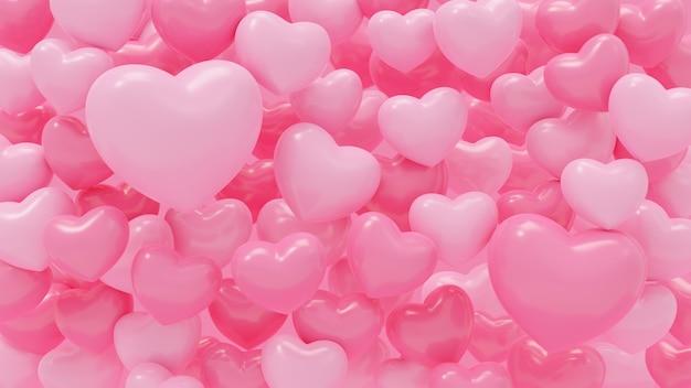 3d-rendering-illustration des rosa herzens formt abstraktion auf rosa hintergrund für liebe, hochzeit und valentinstag.