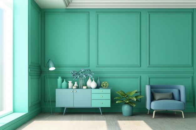 3d-rendering-illustration des wohnzimmers mit der klassischen grünen wandplatte des luxusgrüns und der blauen möbel