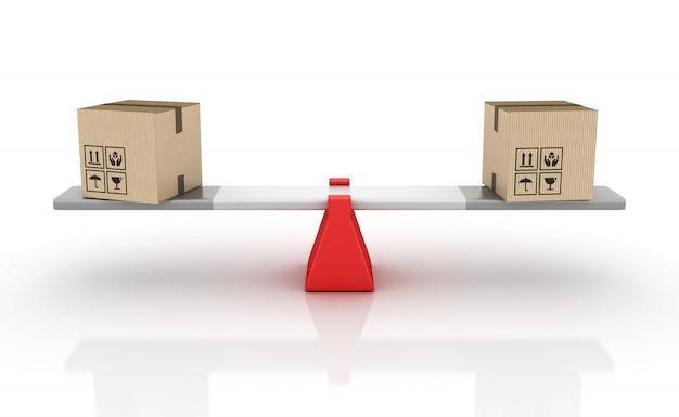 3d-rendering-illustration von pappkartons, die auf einer wippe balancieren