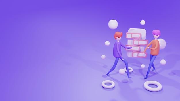 3d-rendering illustration website-vorlage