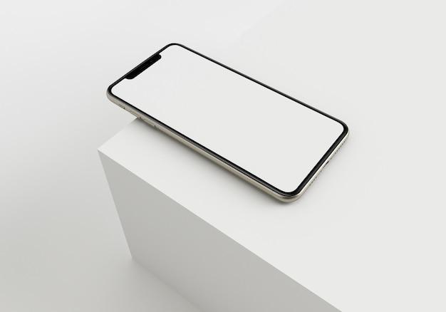 3d-rendering-illustrationshand, die das weiße smartphone mit vollbild und modernem rahmenlosem design hält