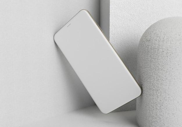 3d-rendering-illustrationshand, die das weiße smartphone mit vollbild und modernem rahmenlosen design hält