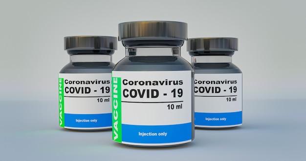 3d-rendering-impfstoff zur injektion zur verhinderung von coronavirus covid19