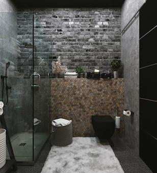 3d-rendering. innenraum eines modernen badezimmers mit sechseckigen braunen und grauen fliesen an der wand.