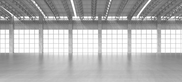 3d-rendering innenraum weiß und sauber leere fabrik oder lagerhaus