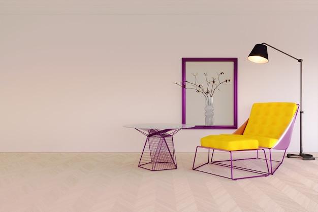 3d-rendering innenszene und mockup weiße wand mit gelbem und violettem modernen sessel