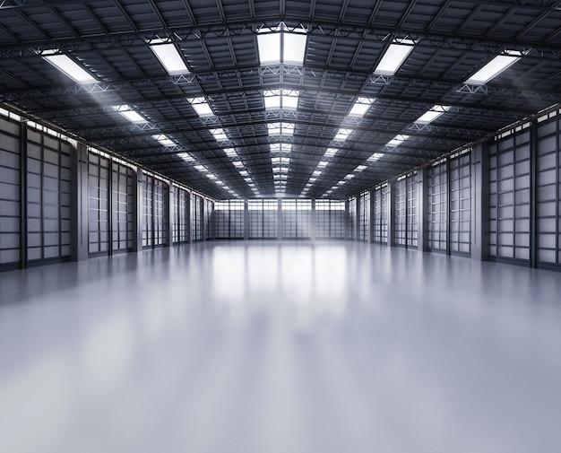 3d-rendering innere leere fabrik mit pendelleuchten