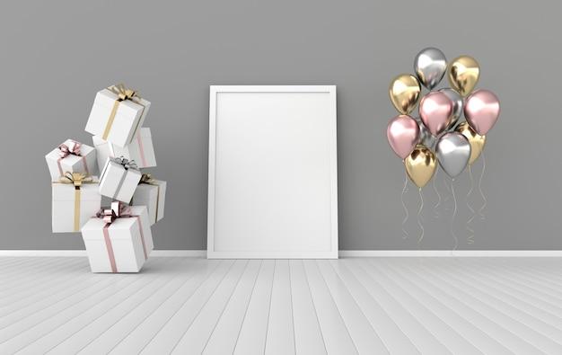 3d-rendering-interieur mit realistischen geschenkboxen mit schleifen, die iposter-rahmen und luftballons verspotten
