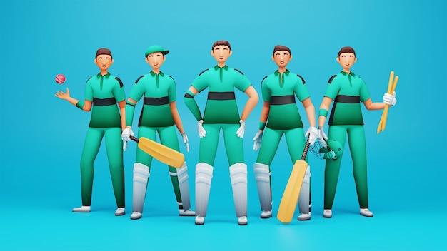 3d-rendering irland cricket teamplayer mit turnierausrüstung auf blauem hintergrund.
