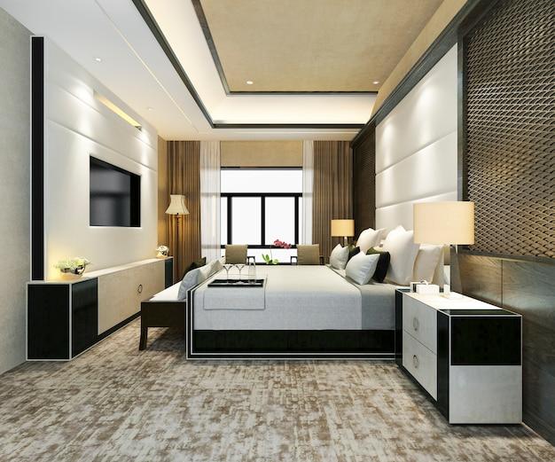 3d-rendering klassische schöne luxus-schlafzimmer-suite im hotel mit tv