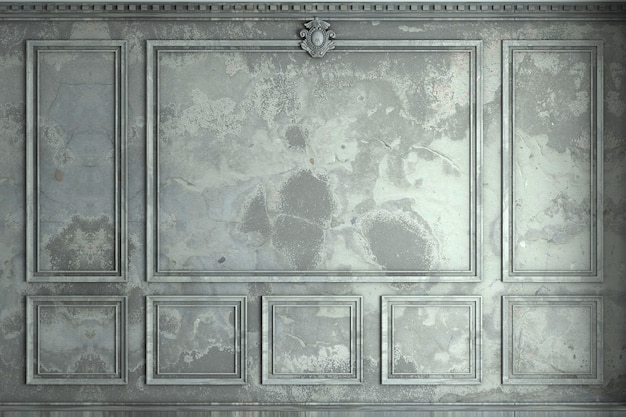 3d-rendering. klassische wand aus alten wandpaneelen malen. tischlerei im innenraum. hintergrund.