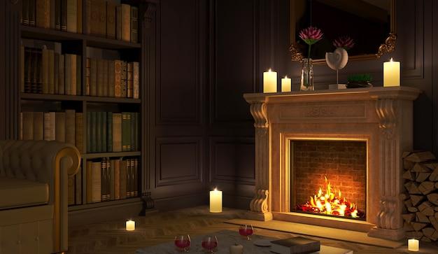 3d-rendering. klassischer kamin in einem vintage nachtzimmer.
