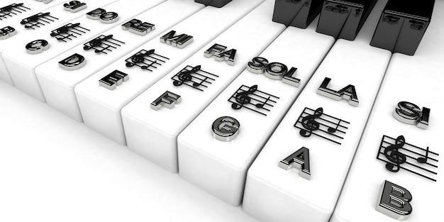 3d-rendering, klaviertasten mit noten für violinschlüssel. musikalischer hintergrund