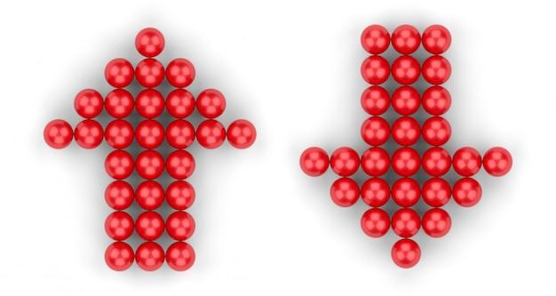 3d-rendering. kleine rote kugelgruppe in der auf und ab pfeilform auf weiß