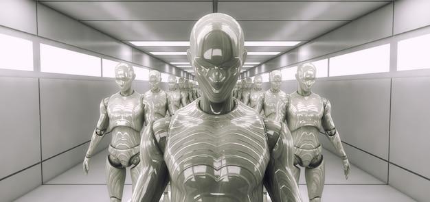 3d-rendering. klonen von humanoiden figuren