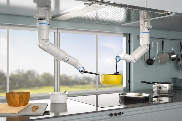 3d-rendering-koch-roboter, der in der küche kocht
