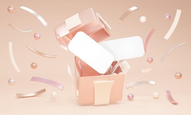 3d-rendering-konzept der offenen geschenkbox, um geometrische elemente zu zeigen und leere papierkarten des raums zu kopieren