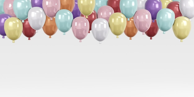 3d-rendering-konzept des ballonhintergrundes. bunte ballons, die auf weißem hintergrundraumstudio schwimmen. 3d-rendering. 3d-darstellung. minimales kreatives konzept der idee.