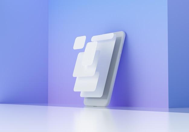 3d-rendering konzept für die entwicklung mobiler apps und softwareentwicklung