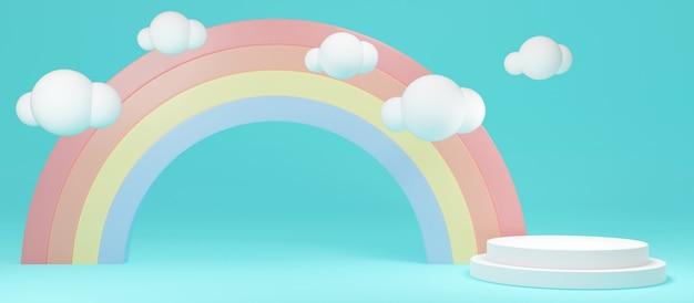 3d-rendering-konzept mit langem szenen-regenbogenhintergrund mit leerer podiumsanzeige für kommerzielles design. 3d-rendering. illustration.