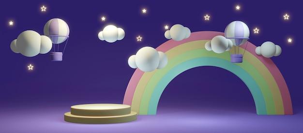 3d-rendering-konzept mit langem szenenregenbogen und heißluftballonhintergrund mit leerer podiumsanzeige für kommerzielles design. 3d-rendering. illustration.