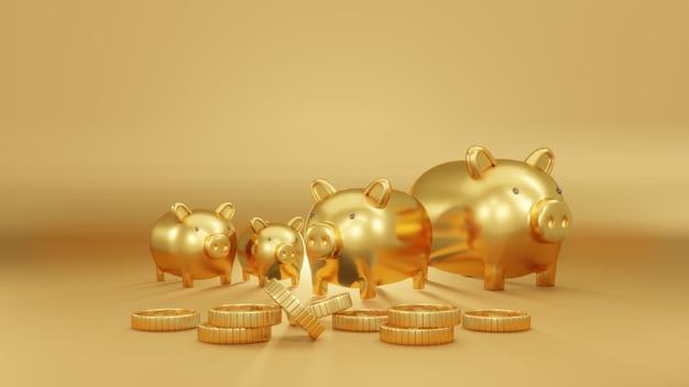 3d-rendering-konzept von goldenen sparschweinen in verschiedenen größen auf goldenem hintergrund mit münzen