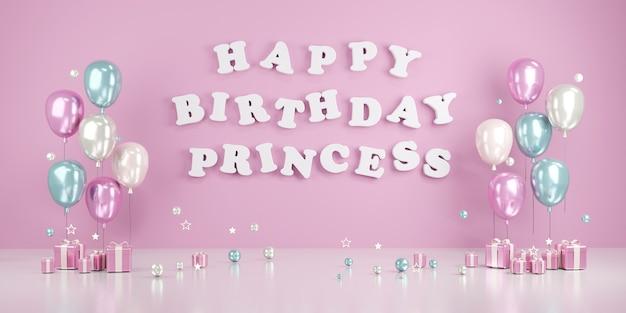 3d-rendering-konzept von happy birthday prinzessin text an der wand mit luftballons und geschenken im rosa thema