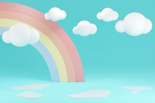 3d-rendering-konzept von regenbogenhintergrund und pfütze mit leerzeichen für kommerzielles design. 3d-rendering. illustration.