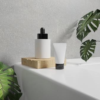 3d-rendering kosmetische modelle. mock-up-szene mit podium für die produktanzeige. wandhintergrund und pflanze