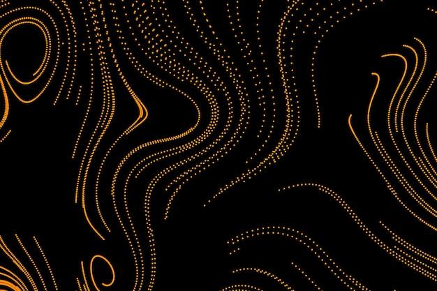 3d-rendering kreativen abstrakten schwarzen hintergrund gelbe linien wirbeln in spiral-motion-design