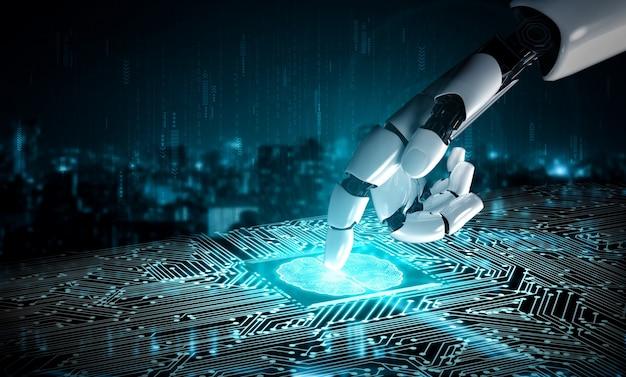3d-rendering künstliche intelligenz ki-forschung zur entwicklung von robotern und cyborgs für die zukunft lebender menschen. design von digital data mining und maschinellem lernen für computerhirn.