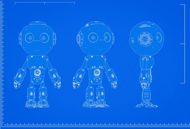 3d-rendering künstliche intelligenz roboter blaupause mit skala auf blauem hintergrund