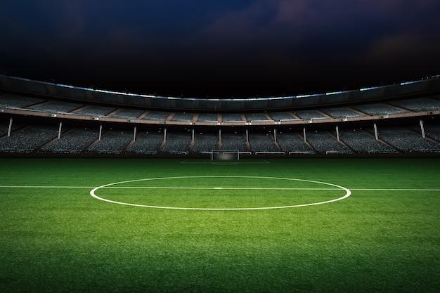 3d-rendering leere grüne wiese mit stadion