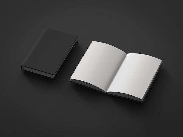 3d-rendering leere seiten notizbuch auf schwarzem hintergrund