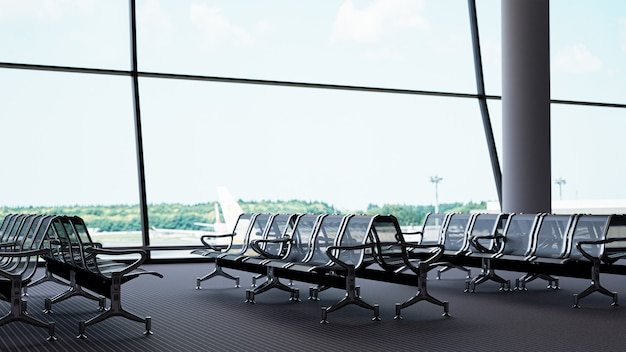 3d-rendering leere sitze in der abflughalle des flughafens