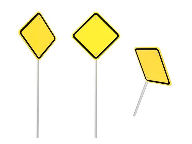 3d-rendering leere warnzeichen isoliert auf weiss