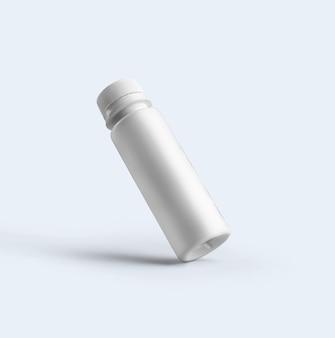 3d-rendering leere weiße kosmetische pulverflasche mit kunststoffkappe auf grauem hintergrund. fit für ihr mockup-design.