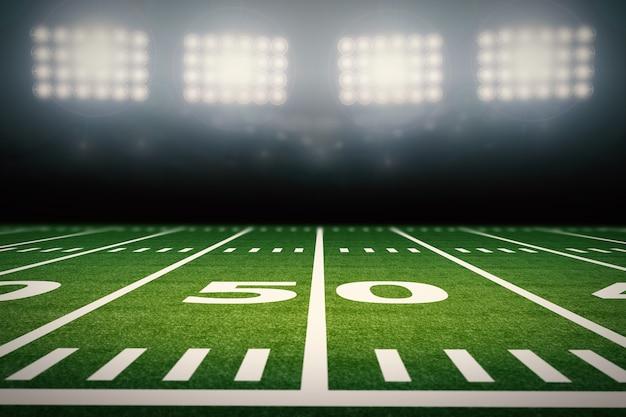 3d-rendering leerer american-football-feld mit stadion