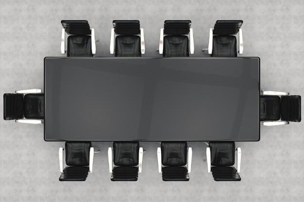 3d-rendering leerer konferenztisch und bürostühle