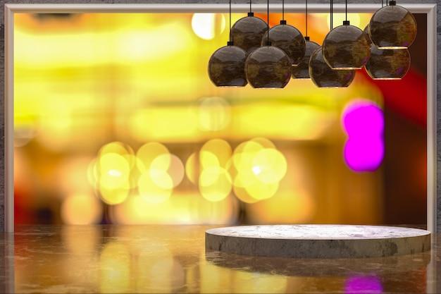 3d-rendering, leerer marmortisch für die anzeige von produkten vor restaurant, nachtbar oder nachtclub abstrakter unscharfer hintergrund, leerer kopierraum für party, werbebanner für soziale medien, poster