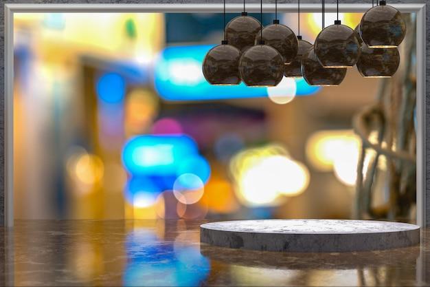 3d-rendering, leerer marmortisch zur anzeige von produkten vor dem restaurant