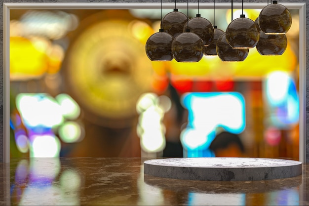 3d-rendering, leerer marmortisch zur präsentation von produkten vor restaurant, nachtbar oder nachtclub