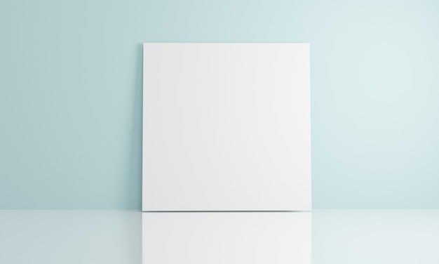 3d-rendering leerer papierkopierraum für text, der sich auf das blaue wandkonzept der kommerziellen vorlage stützt