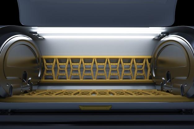 3d-rendering leerer stauraum oder kapselraum mit licht