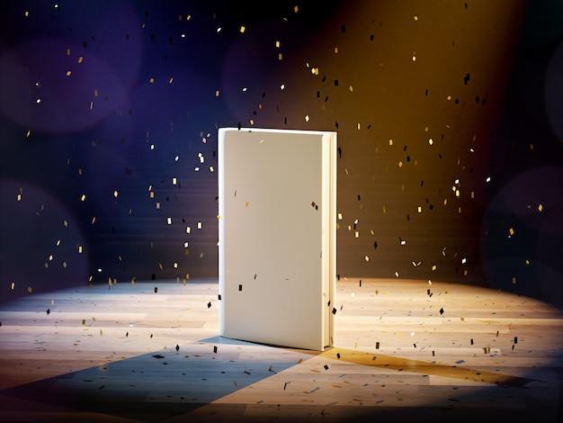 3d-rendering leeres cover-buch mit flare-licht und konfetti