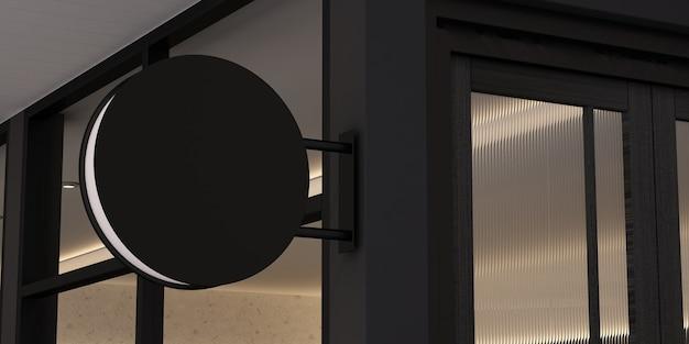 3d-rendering leeres kreismodell, schwarze leere beschilderung an der ladenfront.
