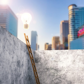 3d-rendering-leiter, die sich an eine zementwand mit leuchtender glühbirne oben lehnt