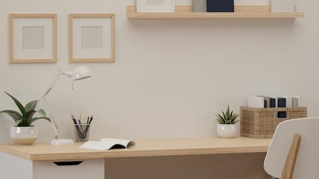 3d-rendering, leseecke mit kopierraum, lampe, büchern und dekorationen auf dem tisch im home office, 3d-illustration